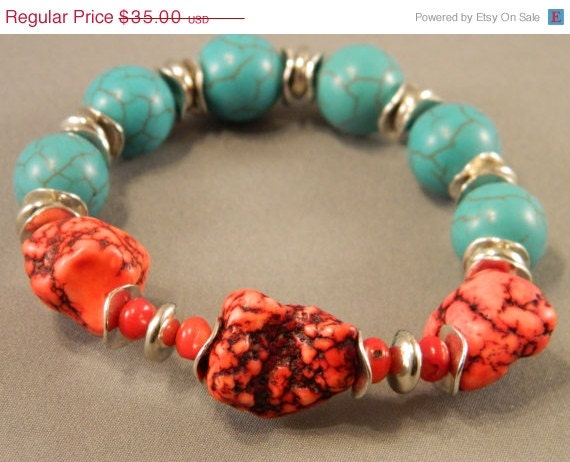 72 Hr. Sale Bracelet Blue Turquoise Howlite, Red Turquoise Nugget Howlite and Red Coral Stretchable Handcrafted Fall Autumn Colors - KimMariaDesigns