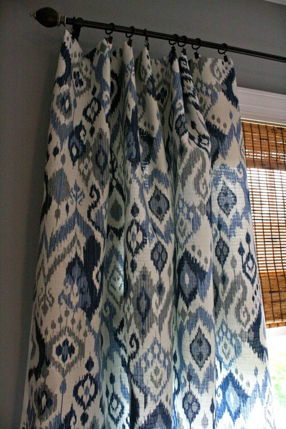 Blue And White Ikat Curtain Panel Custom By Stitchandbrush