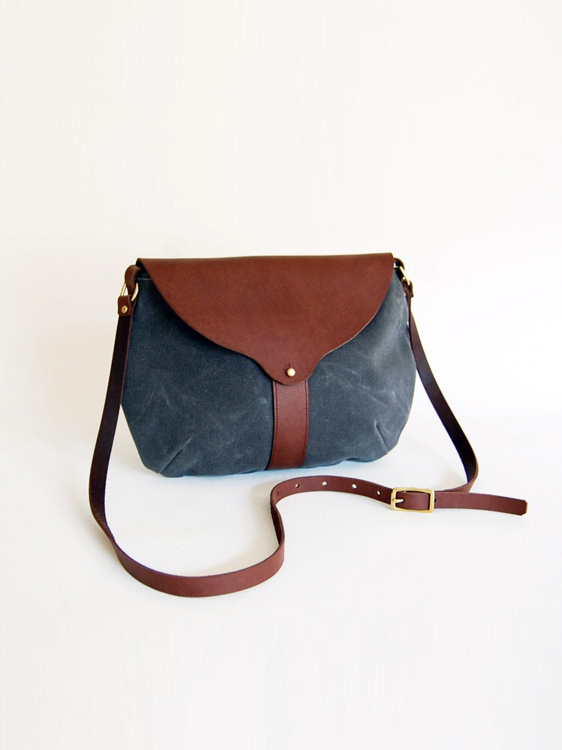 The Taplin Purse in Charcoal Waxed Canvas with Dusty Jade Lining