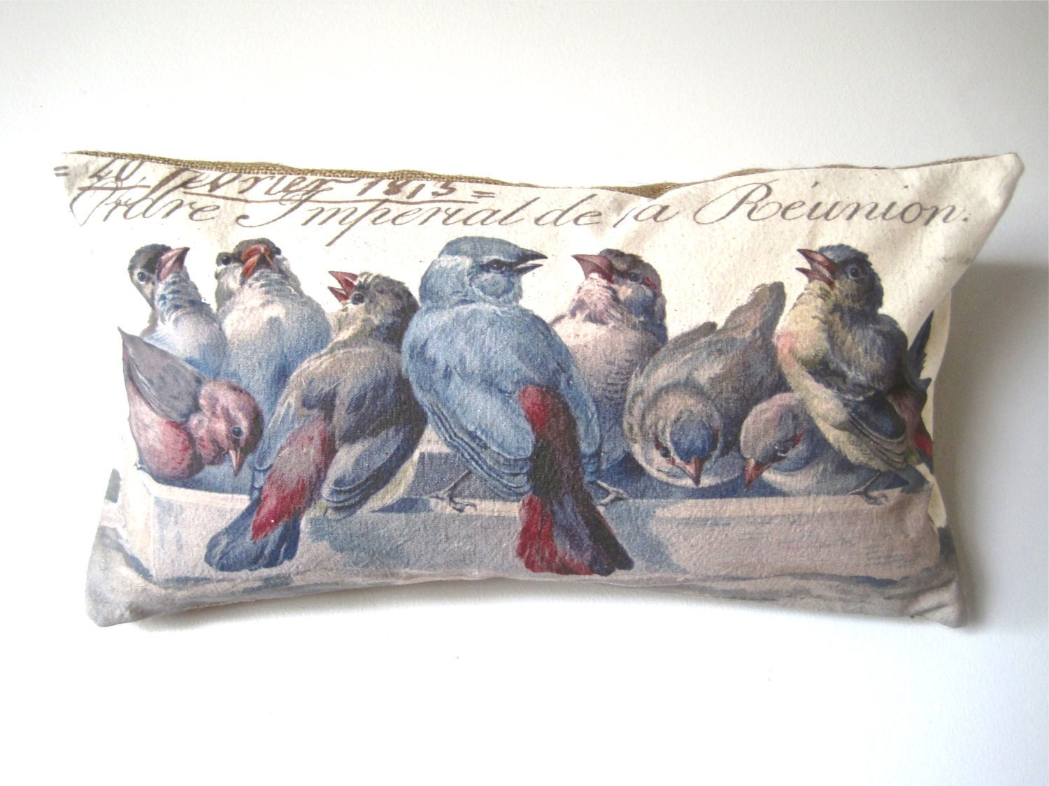 Handmade Handprinted Pillow Cover- 12 x 22- Blue Bird - The Gathering