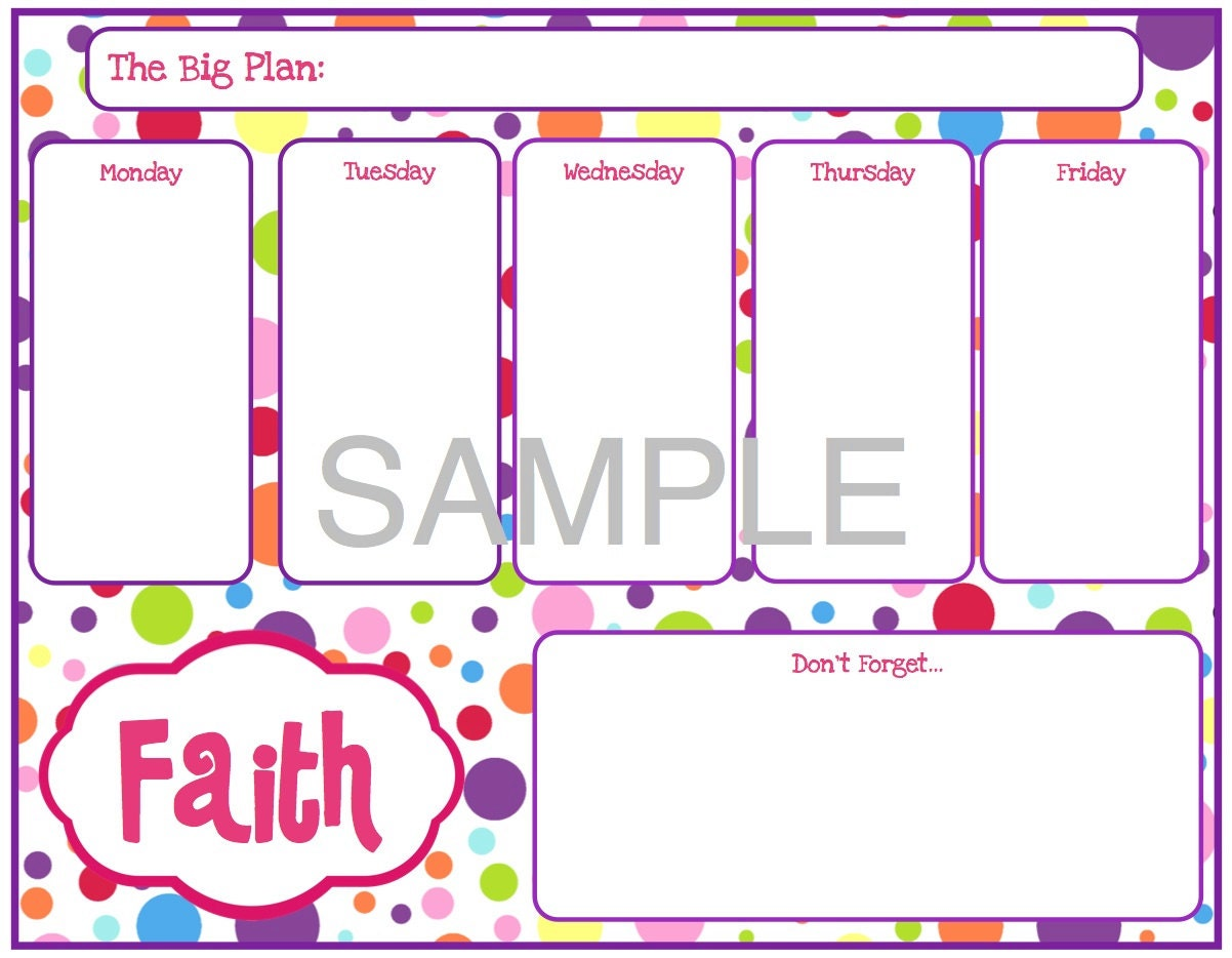 Items similar to Fun Printable Weekly Calendar (2 designs)- Candy Shop ...