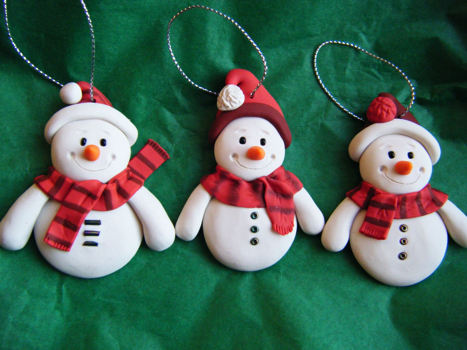 Christmas Decorations Made From Clay : Items similar to set of made order handmade sculpey