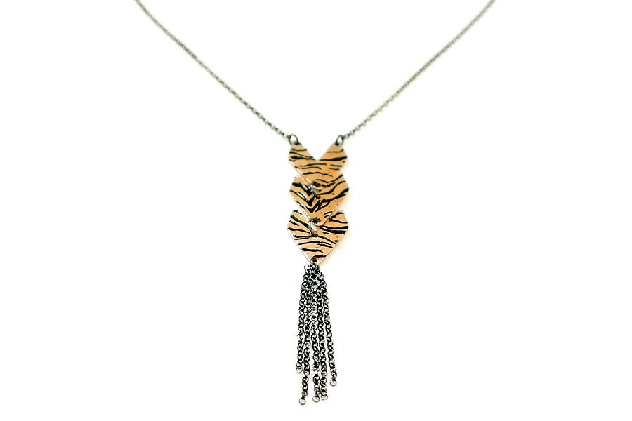 Mixed Metal Tiger Stripe Necklace - JenRoseJewelry