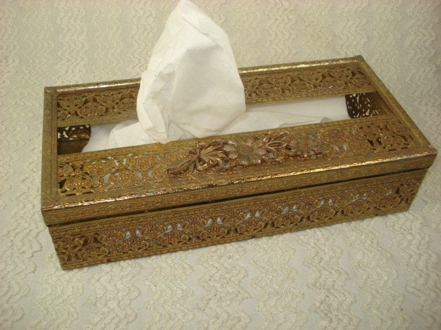 Vintage Gold Filigree Tissue Box Holder With By Timelesstotes