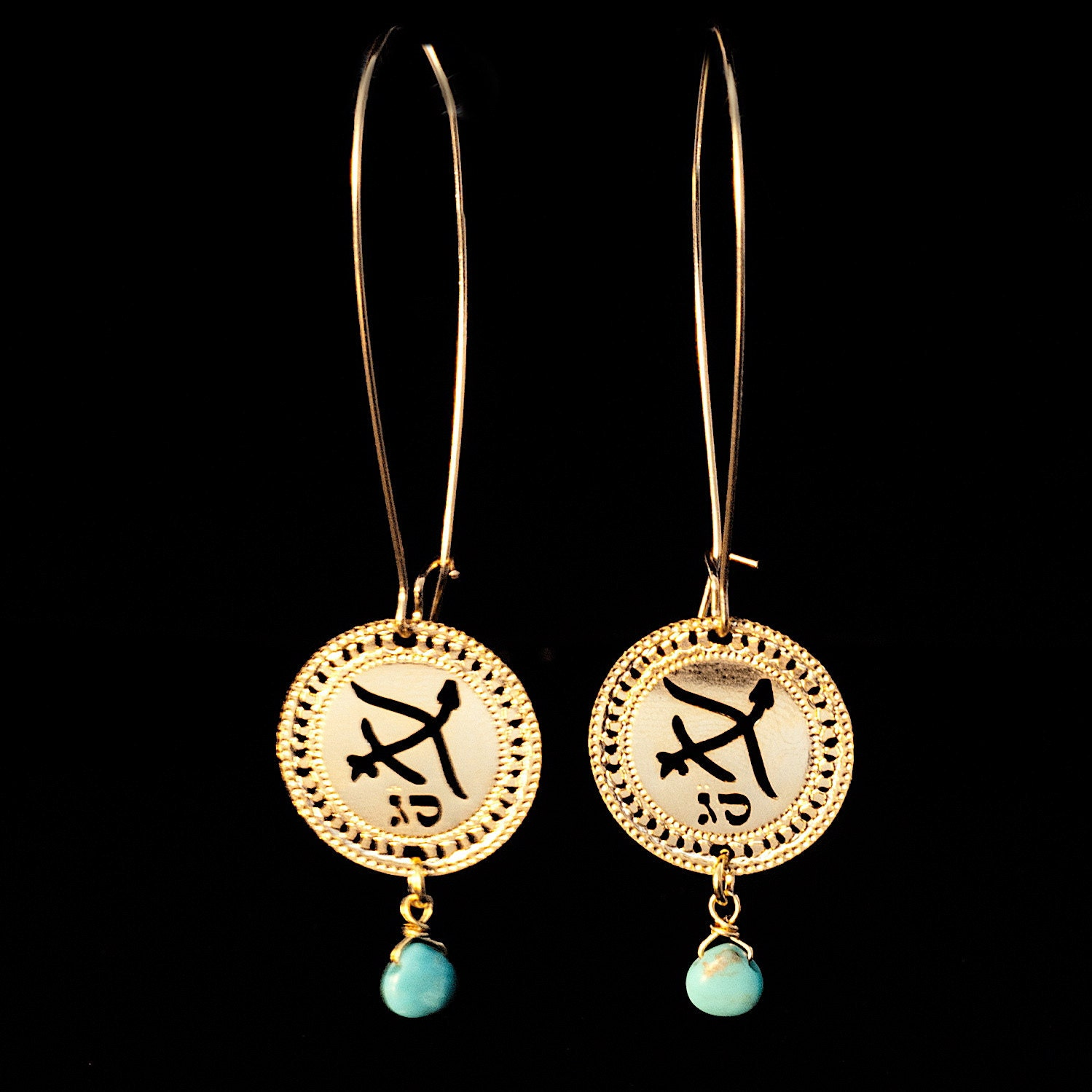 sagittarius earrings turquoise gold earrings by kelkajewelry