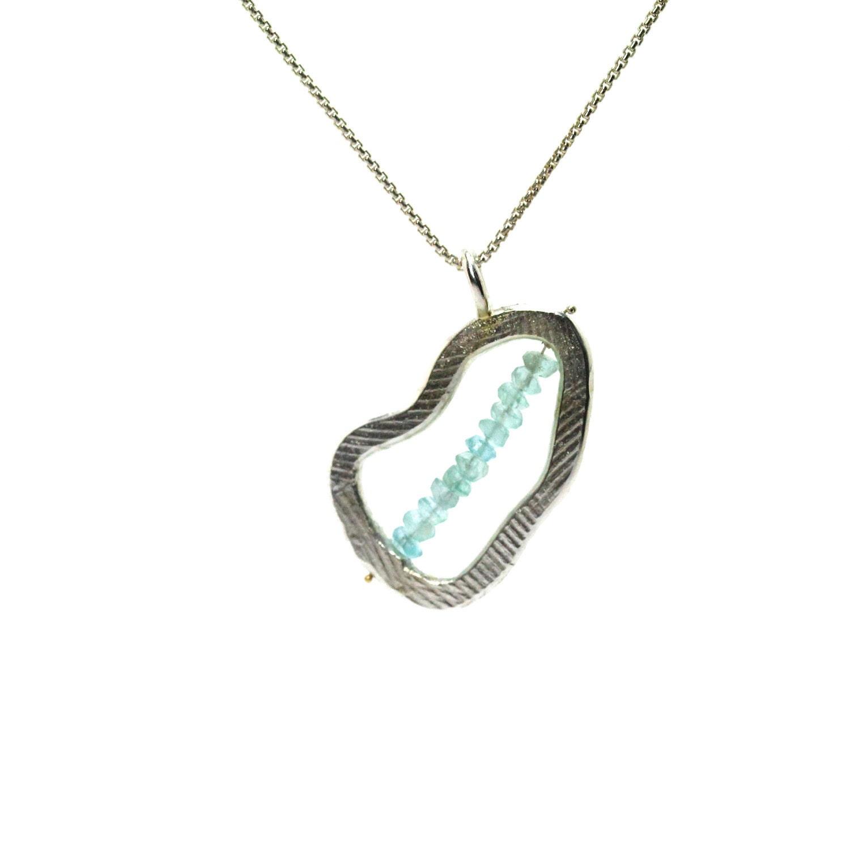 Silver Turquoise Apatite Summer Necklace - Lake - NangijalaJewelry