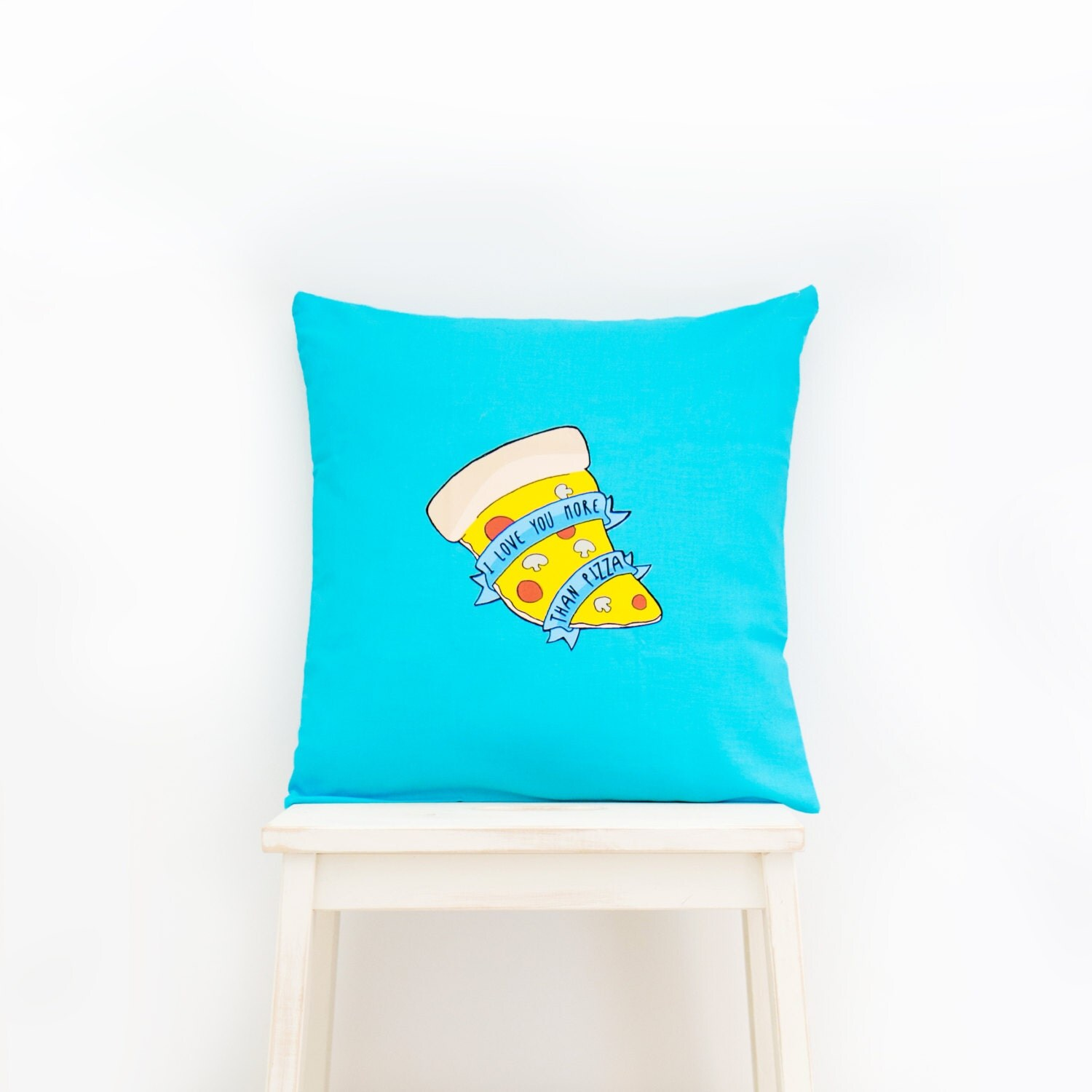 Love You More Than Pizza  Kawaii Food Cushion home decor for childrens bedroom nursery or cosy accessories for the home. Blue