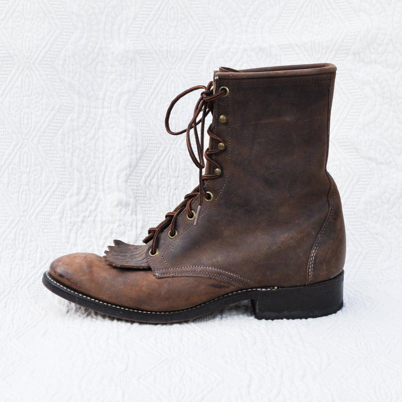 vintage brown suede roper boots mens us 8 5 by