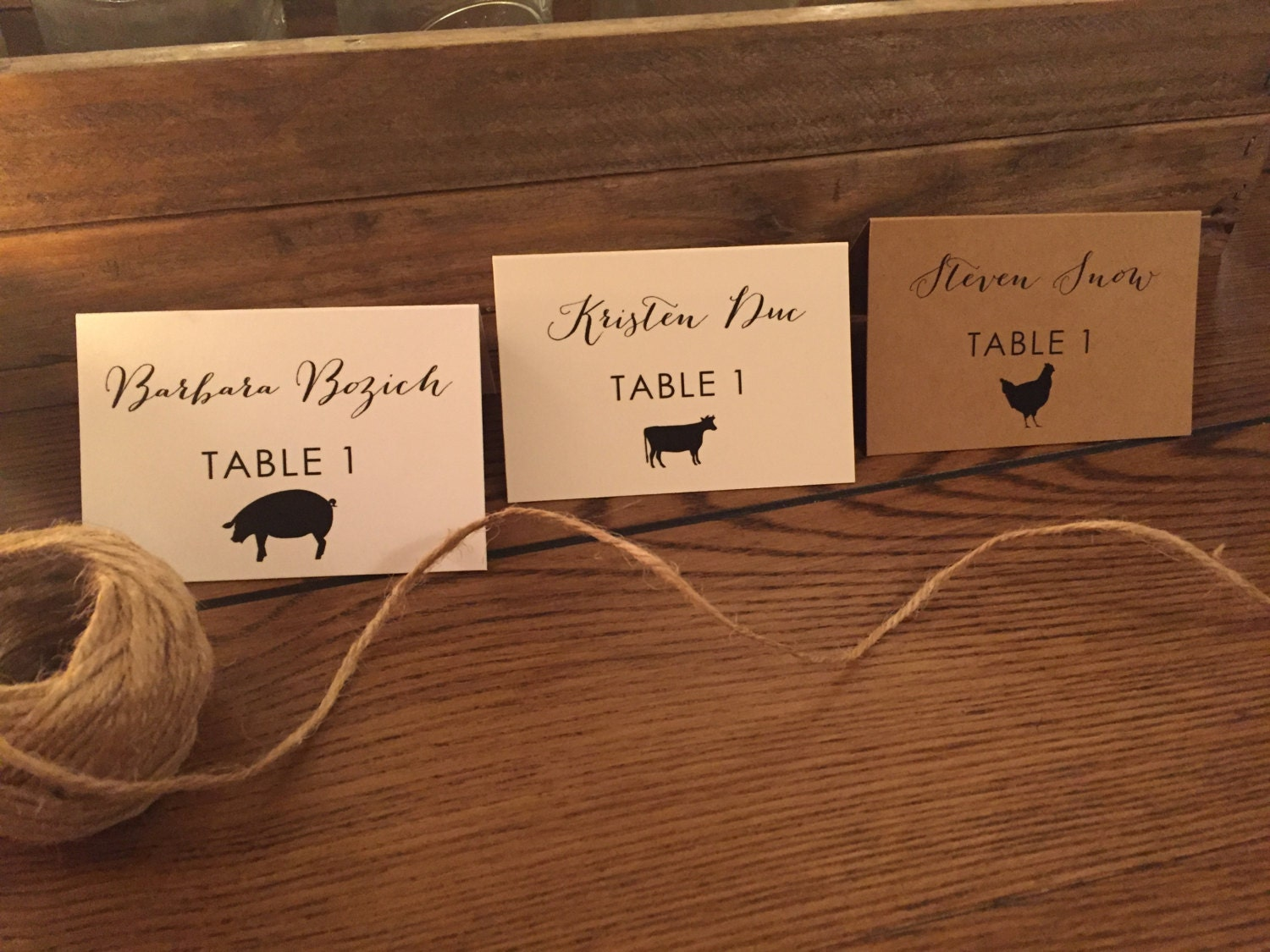 Meal cards for wedding