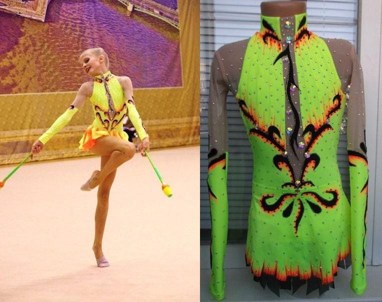 Rhythmic gymnastics leotards orange