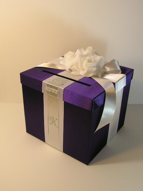 Black And White Wedding Gift Card Box : Purple and Silver Wedding Card Box Gift Card Box Money Box Holder ...