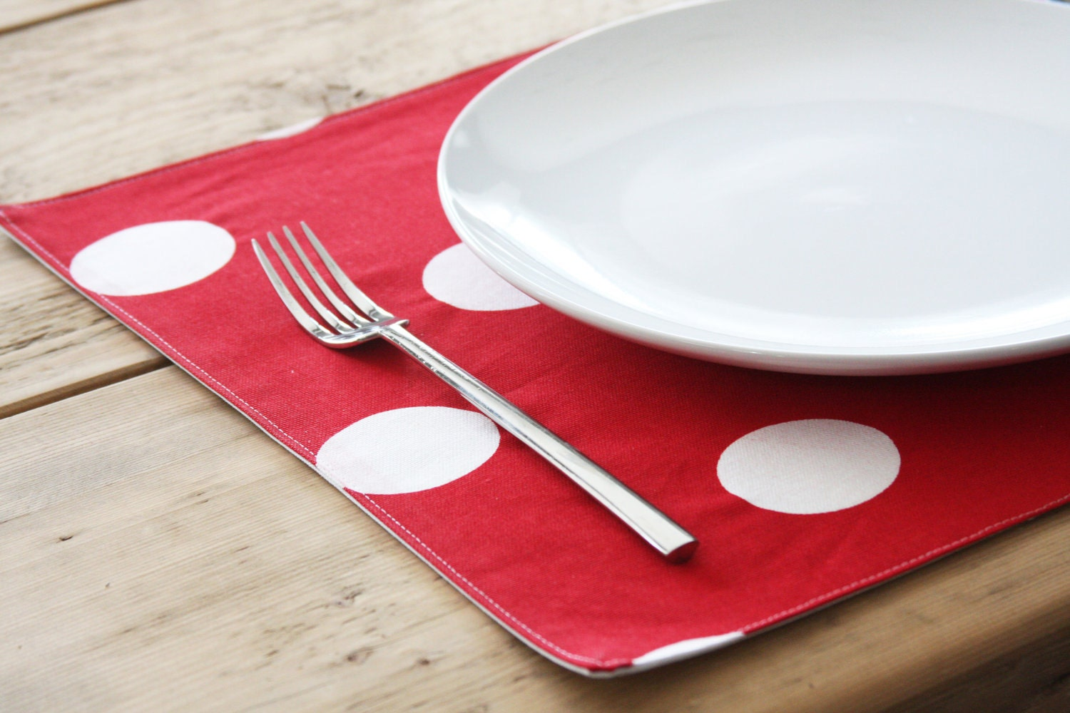 Cloth Placemats - Red with White Polka Dots - Set of 4 - toocutecustomcrafts