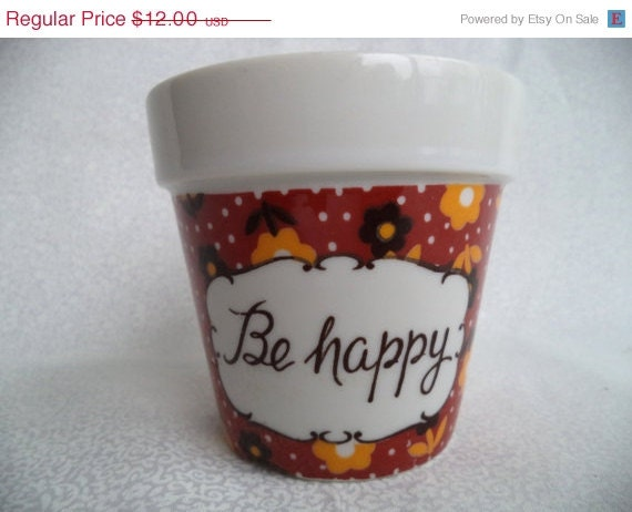 ON SALE Be Happy little flower pot/ vintage glass plant pot with flowers and polka dots - BohoRain