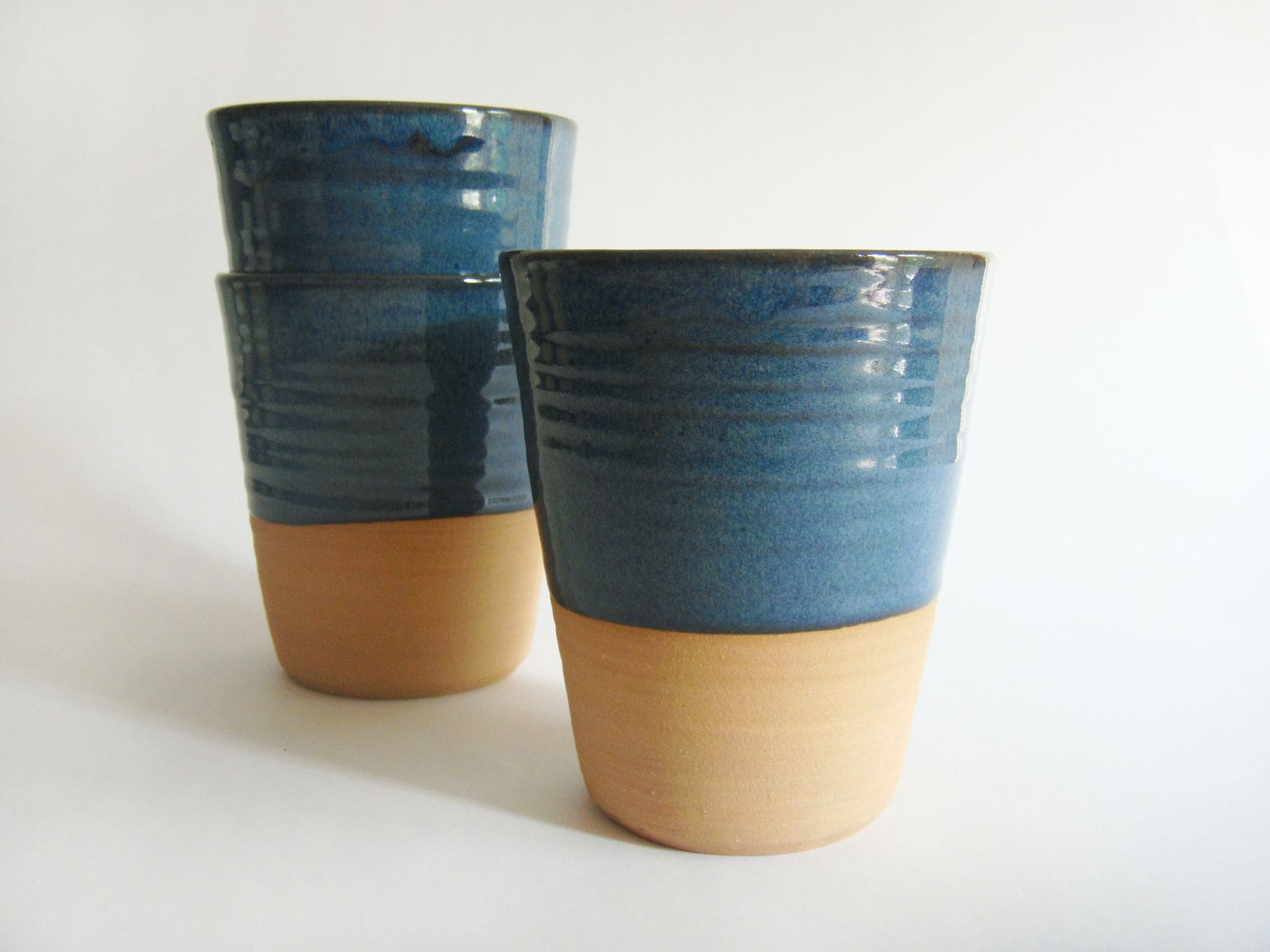 Items Similar To Four Mugs Without A Handle Blue Ceramic