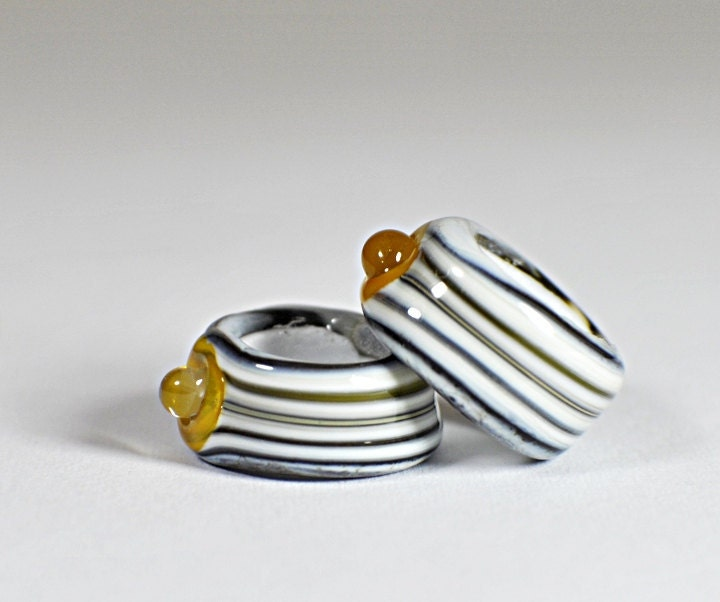 Lampwork large hole beads Buttoned Up  set of 2 - SWDesignsBeads