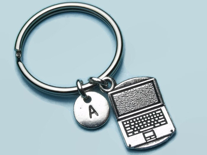 Laptop charm initial keyring  keychain keyring accessory personalised keychain initial accessory gift for herhim computer office