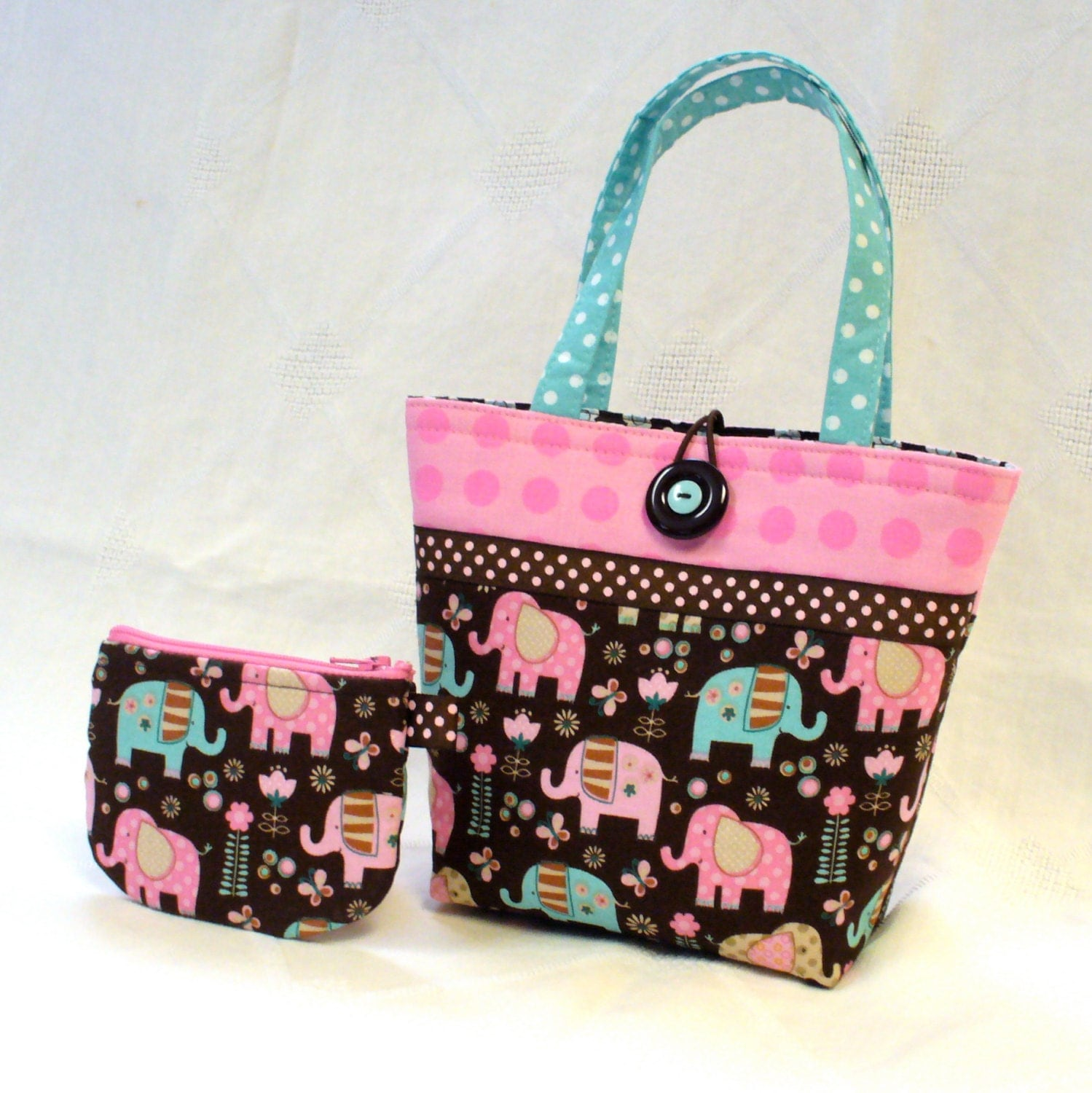 Cute Elephants Little Girls Purse Mini Tote Bag and Coin Purse Set ...