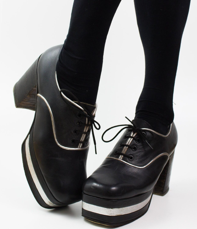items similar to 1970s metallic disco platform shoes on etsy