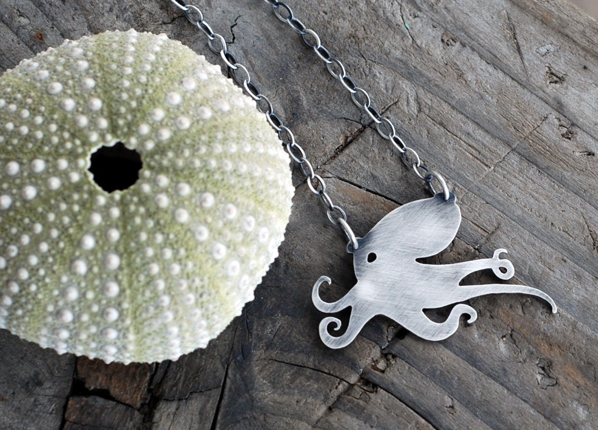 I Heart Octo-pi. Octopus Pendant. Kraken. Ocean Animal Jewelry. Sterling Silver Octopus Necklace. Sea Life. - Arrok