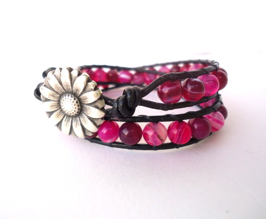 Fuchsia Pink Striped Agate Leather Double Wrap Bracelet/stack bracelet/daisy button/boho/spring summer 2013/hot pink/bohemian/shabby chic - CreationsByAlina