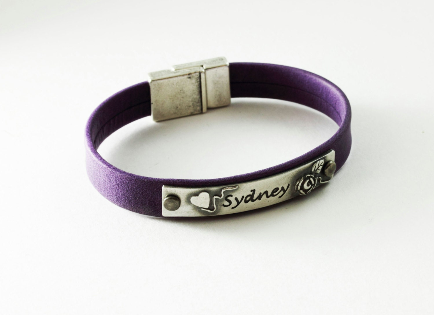 leather and silver personalized name bracelet with by
