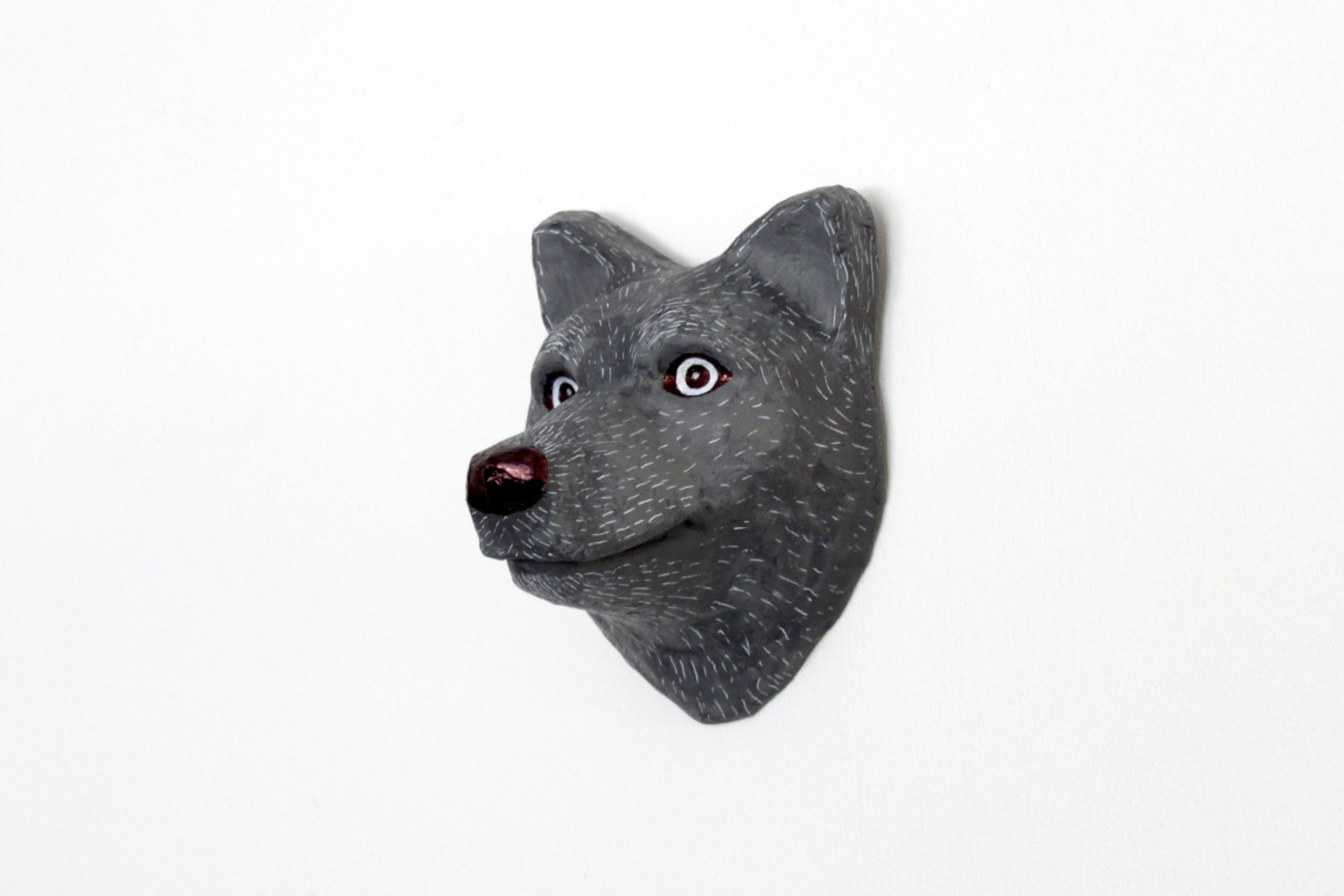 Handmade papier-mache smiling Wolf wall hanging - mould