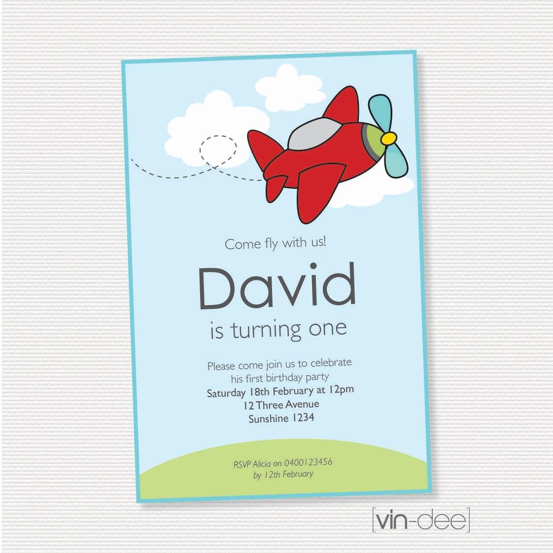 Airplane Birthday Invitation Diy Printable By Vindee On Etsy