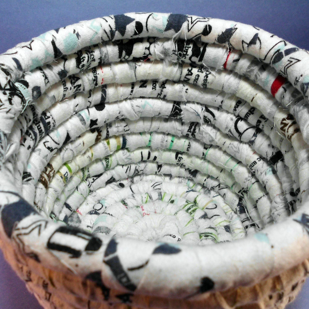 Graffiti Fabric Hand Coiled Basket - Black and White - mamacateyes