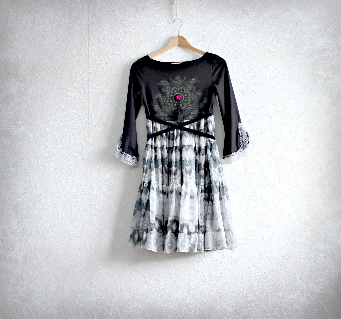 clothi ng tiered skirt eco friendly gypsy clothes women black dress