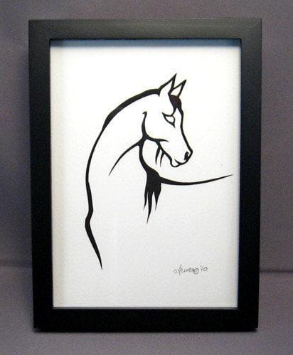 Cut Paper Arabian Horse Silhouette Paper Art - arwendesigns