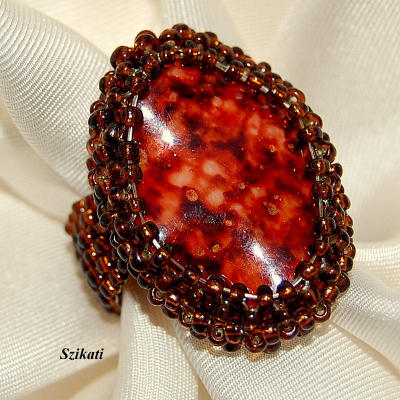 Beaded brown ring, fall colors, unique autumn fashion, OOAK