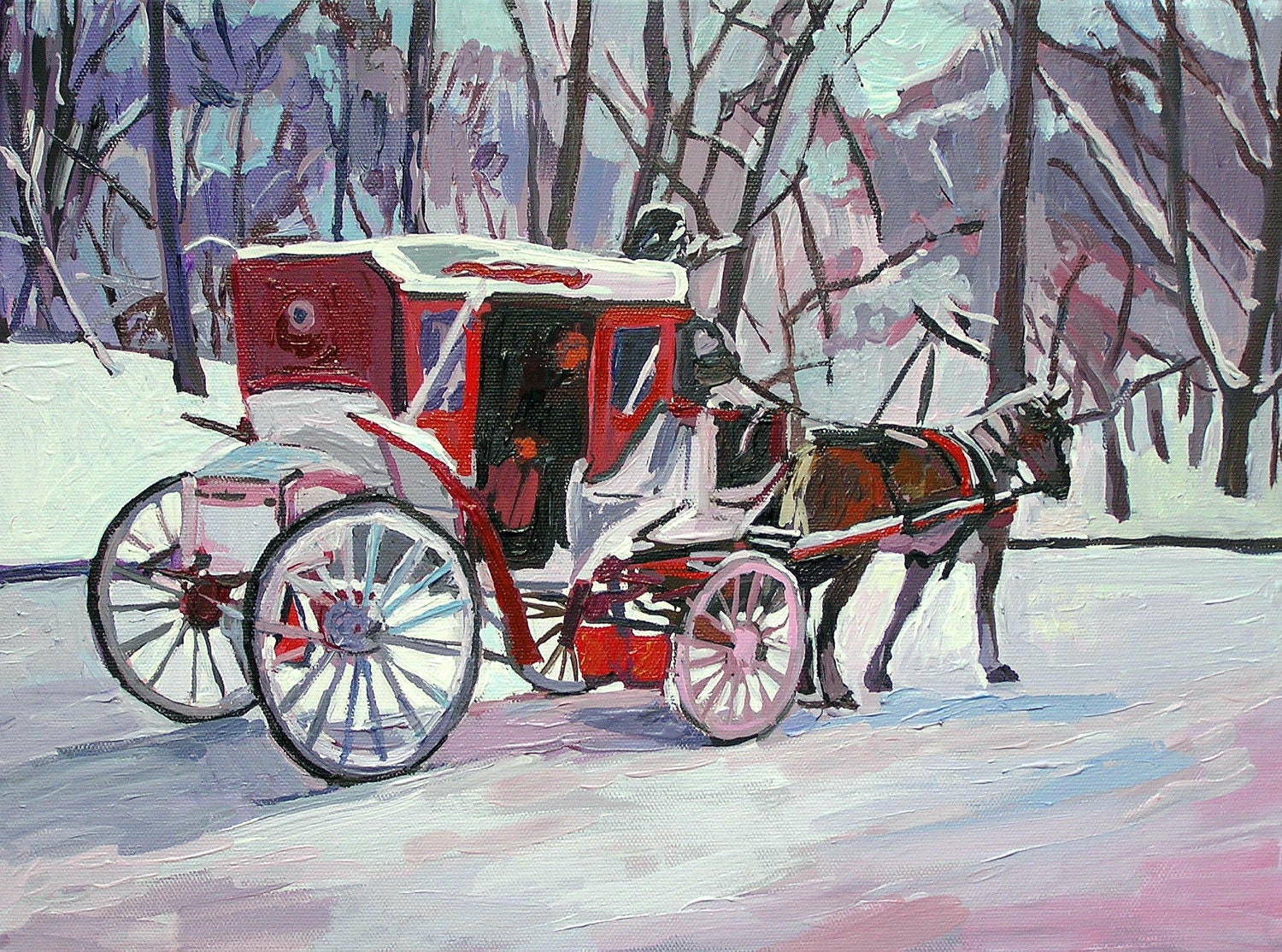"Fine Art Print 8x10, ""Horse and Carriage, Central Park"", Winter New York Painting by Gwen Meyerson"