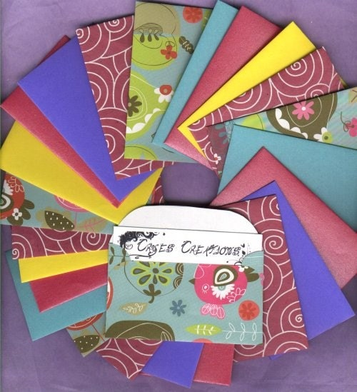 Colorful 24 Mini Business Card Size Envelopes by crye on Etsy