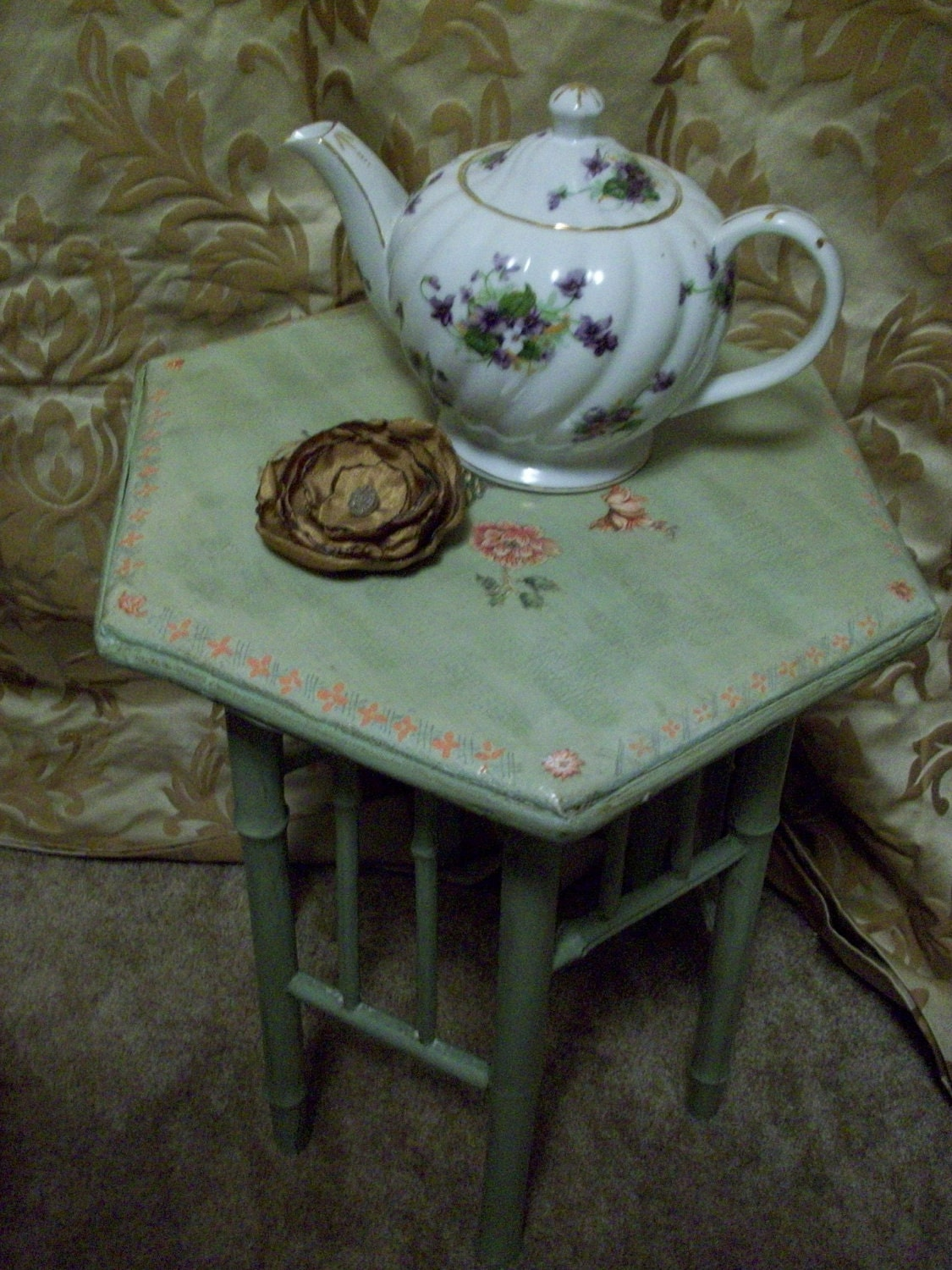 Bamboo Vintage Plant Stand Featuring Soft Green Romantic Look Aged Finish with Decoupage Table Top