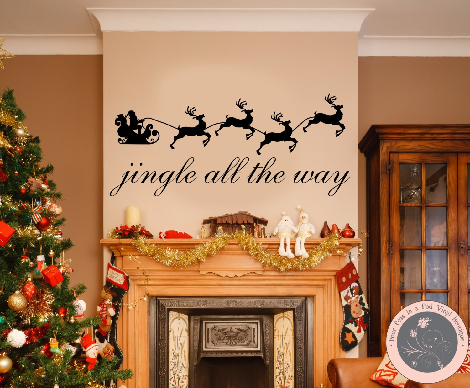 Wall Decals for the Home - Jingle All the Way Sleigh Christmas Wall Decals - FourPeasinaPodVinyl