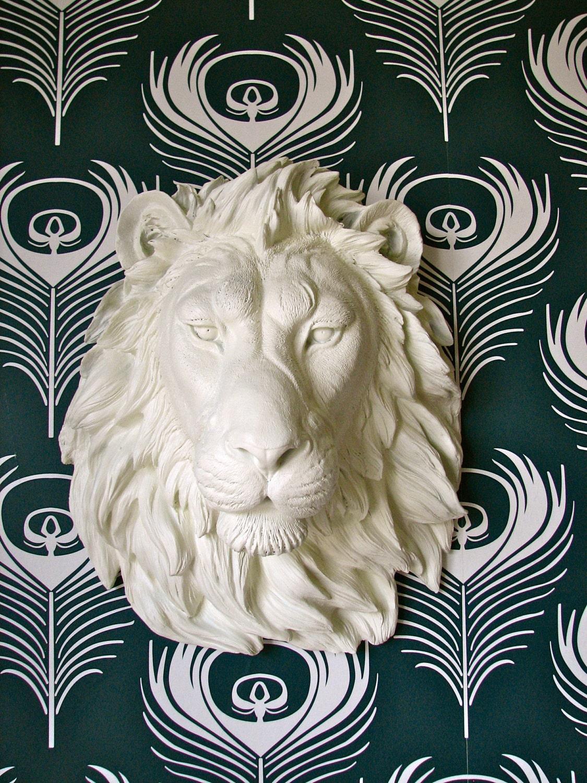Lion Head Faux Taxidermy Wall Decor: Leonard the Lion