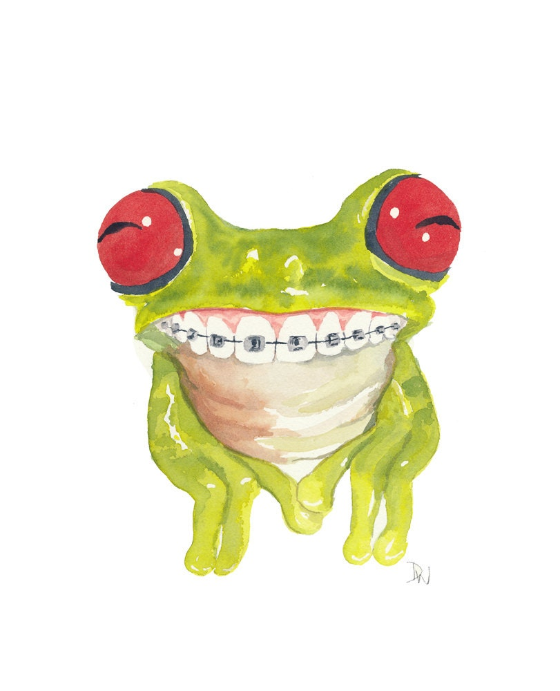 Frog Painting Watercolor Original Tree Frog by WaterInMyPaint