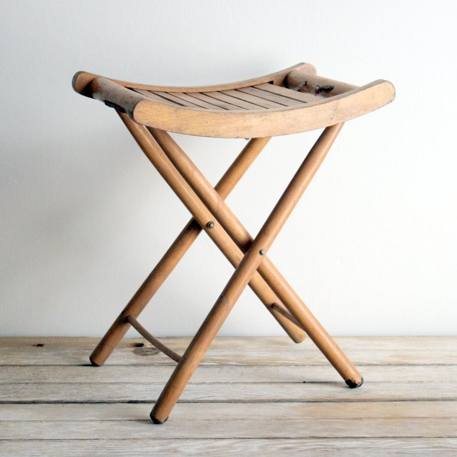 Sale Vintage Wooden Folding Stool By Lacklusterco On Etsy