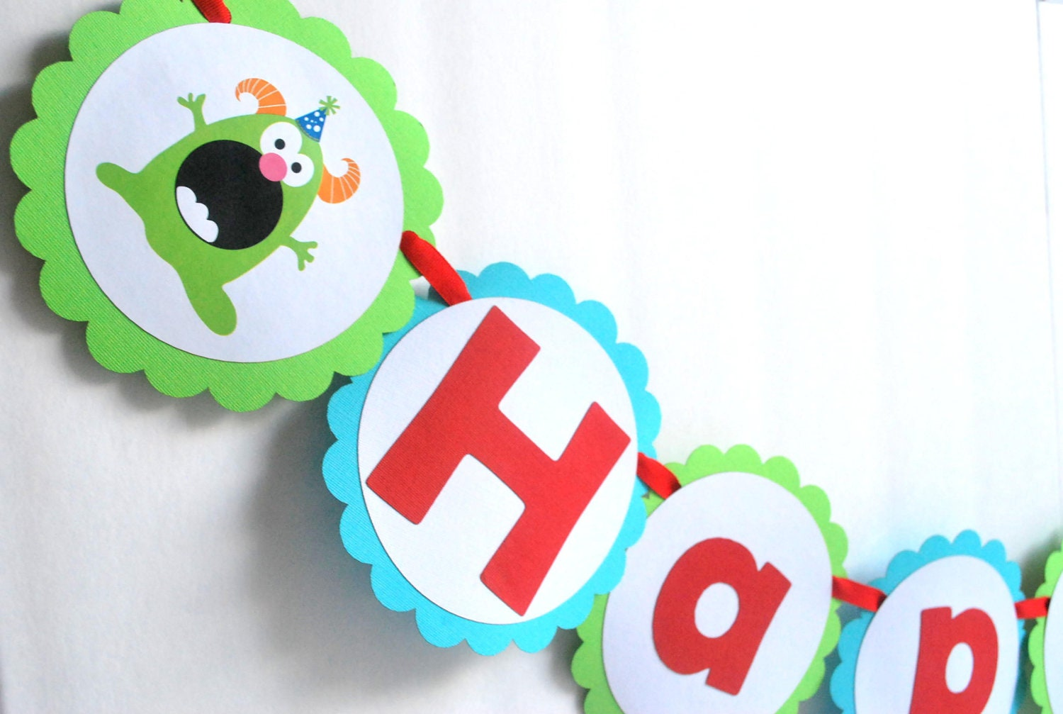 Monster Birthday Banner, Cute little Monster Birthday theme party MariaPalito A287