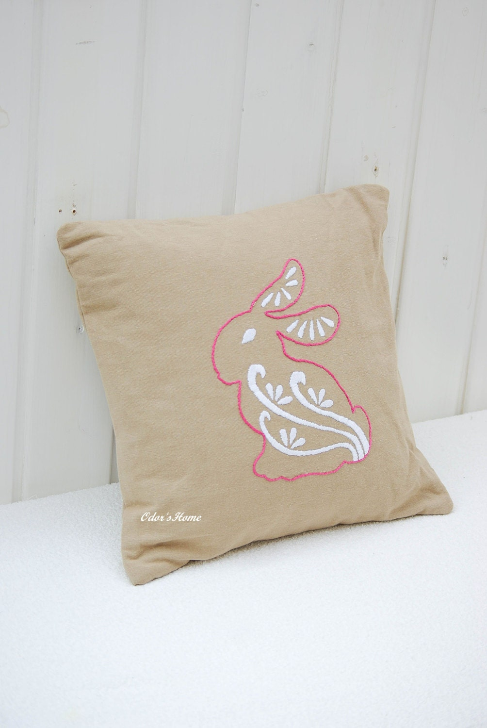 Beige linen cotton pillow case with hand embroidered bunny in pink and white, linen decorative pillow - OdorsHome