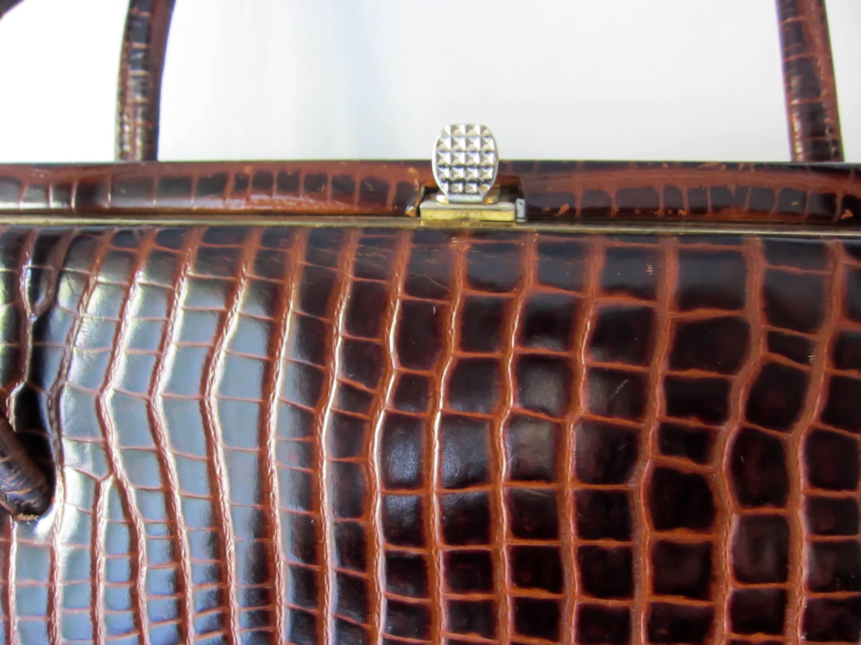 Brown crocodile print handbag vintage handbag brown leather handbag Kelly bag 1950s bag 1940s handbag vintage purse.