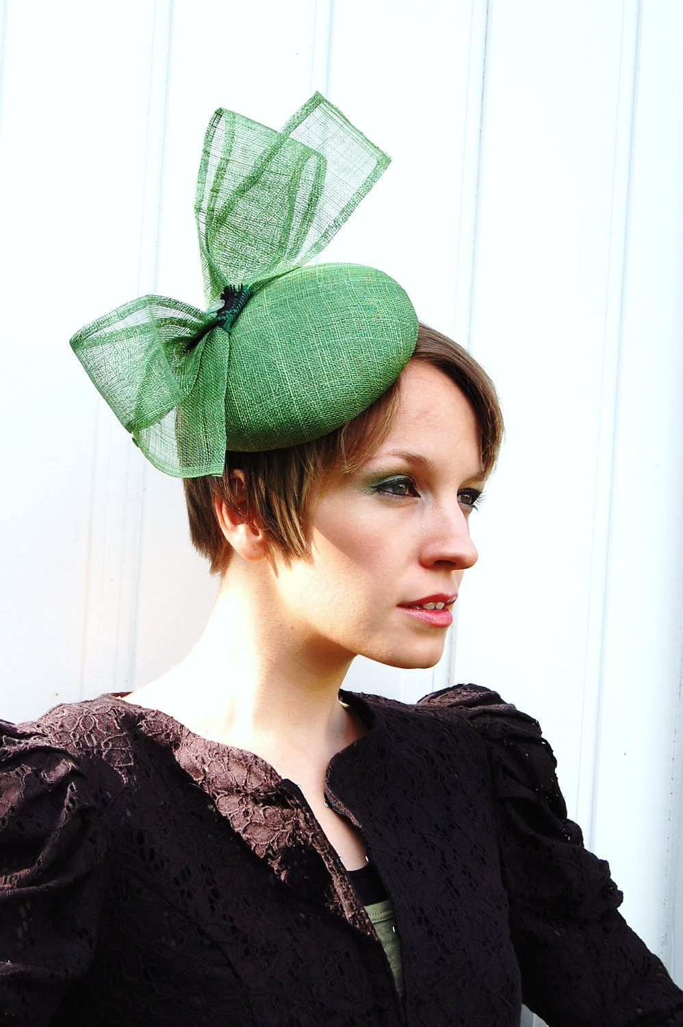 Cocktail hat Sage Green Sinamey Bow green statement fascinator ...