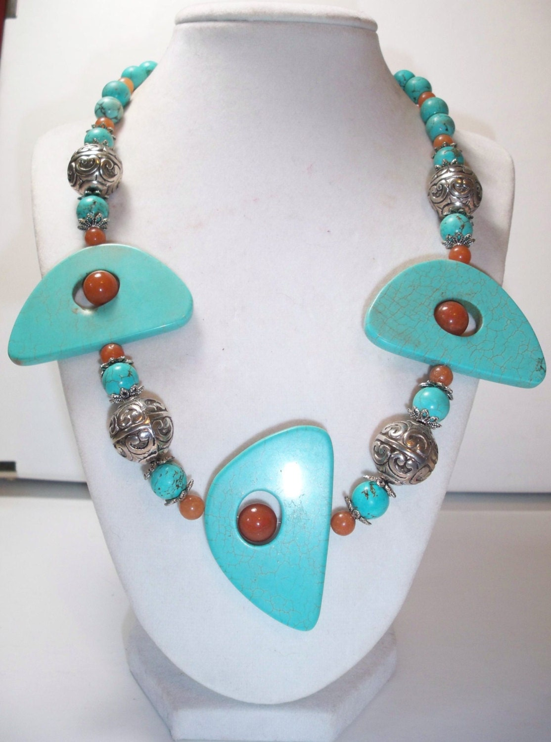 Turquoise and orange gemstone jewelry set of 3  / handmade beaded / beadwork - DaNaturalRoots