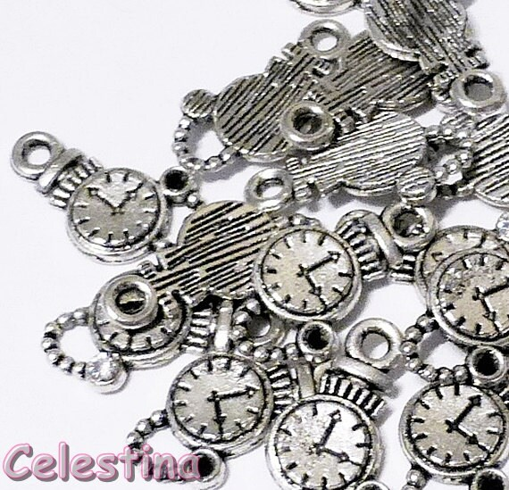 10 Tibetan Silver Watch Charms  Small Watch Charms  Pocket Watch Charms  Steampunk Clock Charms  Alice In Wonderland Charms 17mm  TS445