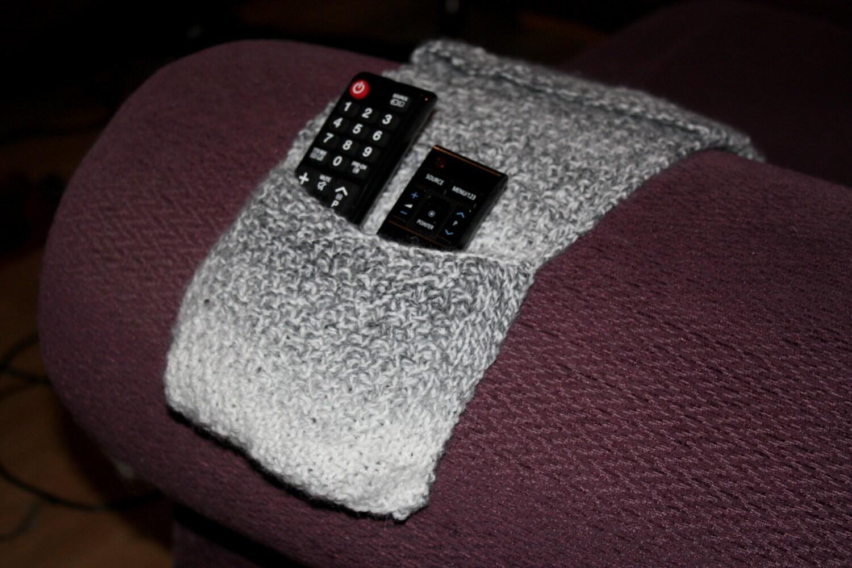 Grey Remote Control Holder Knitted Remote Caddy Sofa Organiser Pockets