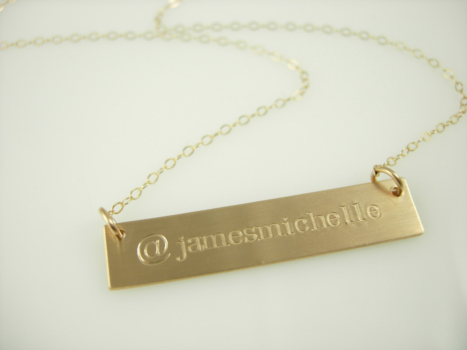 gold name bar necklace engraved gold bar by