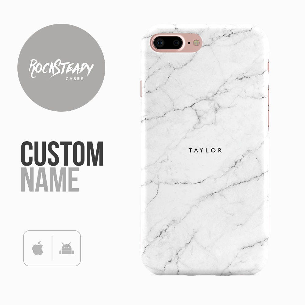White Marble Phone Case Custom name 7 6 6s Plus samsung galaxy S8 S7  5S SE personalized Galaxy S6 S5 monogram initials gift UK
