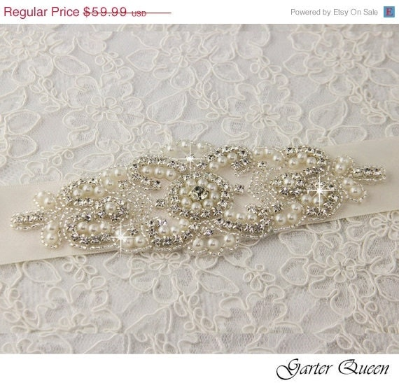 SALE Wedding sash, Bridal belt , Bridal sash - satin ribbon with crystal and rhinestone beaded applique sash, custom color