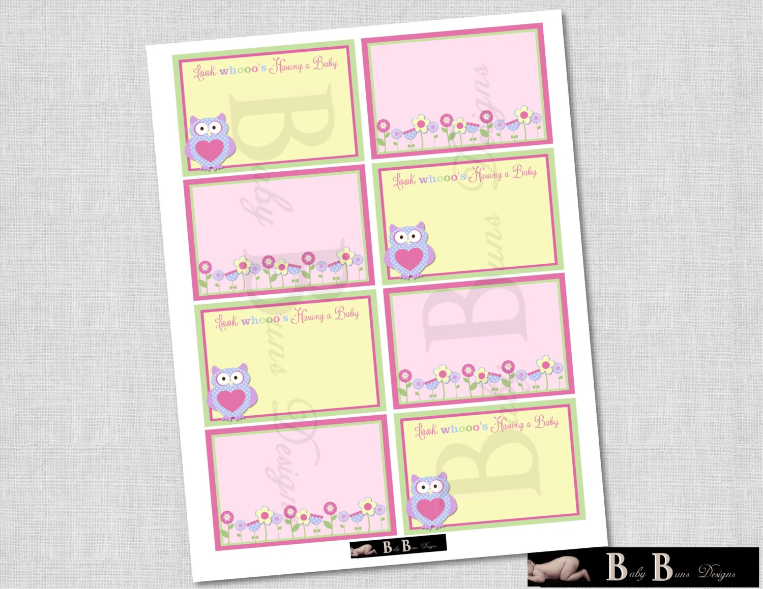 owl flowers girl baby shower labels name tags printable instant