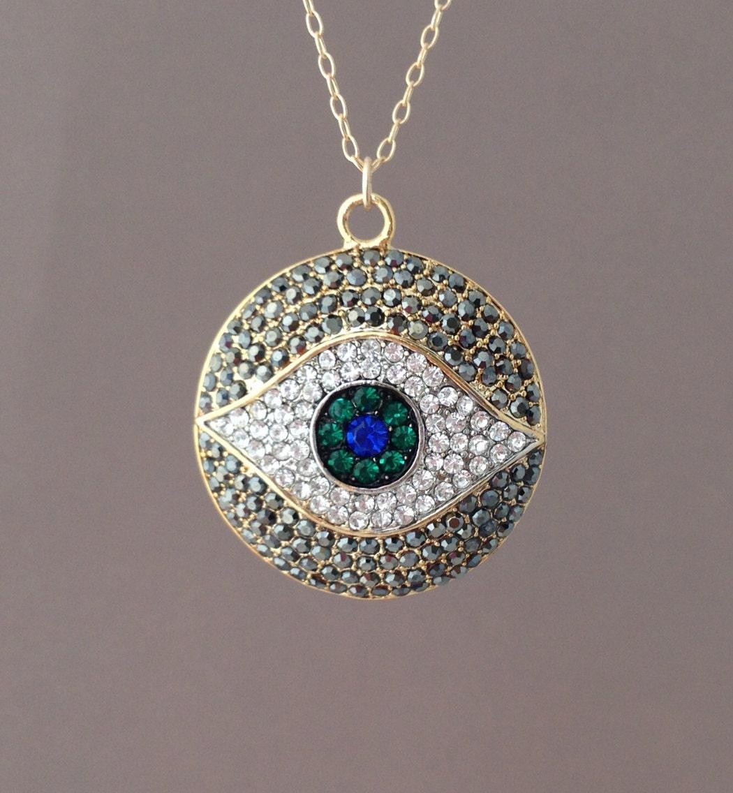 Long Large Gold Evil Eye Pave Crystal Sparkling Necklace 30 32 34 36 inches - JENNYandJUDE